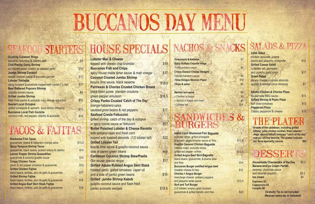 Buccanos Beach Club Bar and Grill Buccanos Menu Day_menu